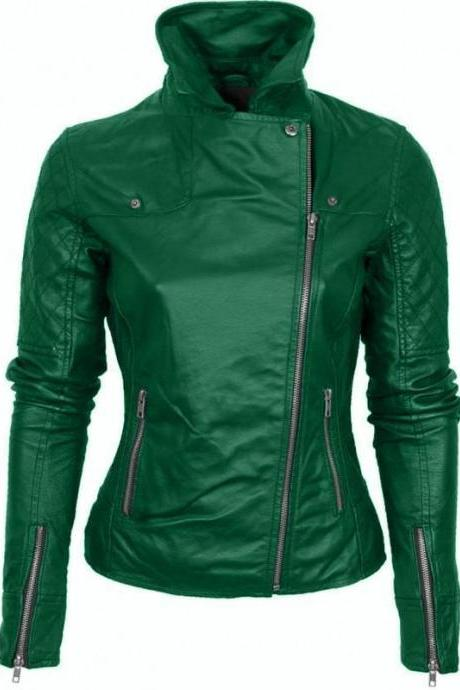 Women,s New Handmade Green Brando Quilted Genuine Leather Jacket