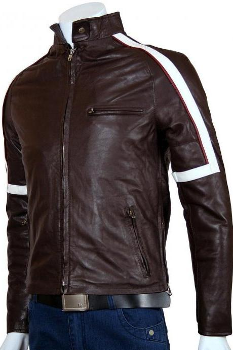 Mens Racer Jacket Custom Made Brown with white line design safety pads all sizes