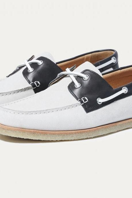 Handmade Moccasin white Black Leather Shoes , Dress Formal Casual Leather Shoes
