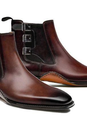 HANDMADE CHELSEA LEATHER BOOTS, ANKLE HIGH TRIPLE BUCKLE BOOTS
