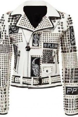 New Woman Philip Plein White Studded Patches Leather Jacket White Lining