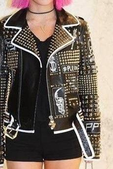 New Handmade Woman Philip Plein Studded Patches Leather Jacket Black Color