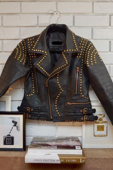 Women,s 100% Pure Leather Jacket Slim Fit Motorcycle GOLDEN Studded Jacket