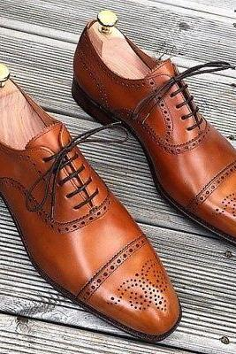 Oxford Brogues Cap Toe Shoes, Leather Shoes For Men, Handmade Leather Shoes