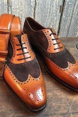 Handmade Men Two Tone Formal Shoes, Men,s Brown And Tan Wingtip Brogue Shoes