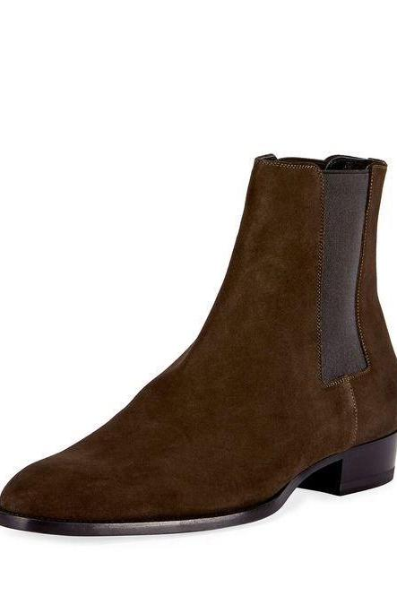 Handmade Men Brown Chelsea Boots, Men Brown Suede Ankle Boots, Mens Boots