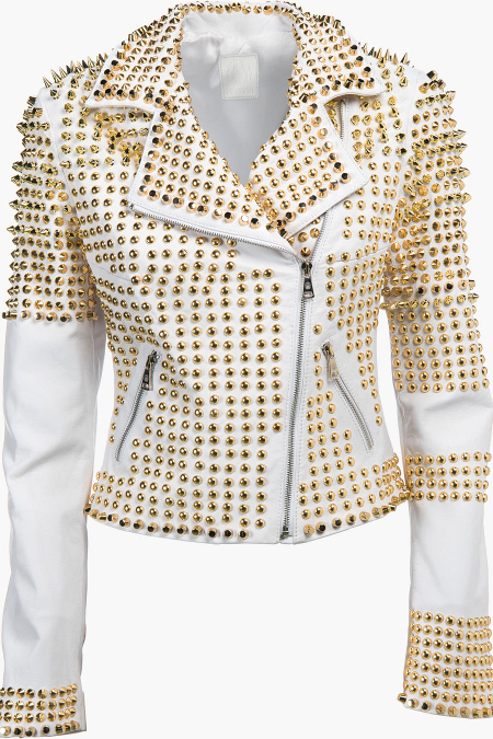 Handmade Women White Full Golden Studded Rider Real Leather Jacket