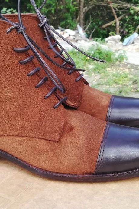 Handmade Brown Suede Boots,Ankle Boot, Mens Leather Boot, Men Denim Casual Boot