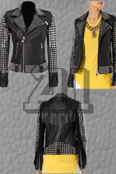 New Philip Plein Full Black Woman Studded Fringes Leather Jacket XS TO 6XL