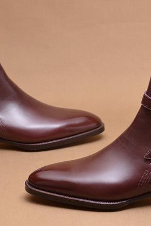 Handmade Men Burgunday Jodhpurs Boots, Men Ankle Boots, Men Leather Boots