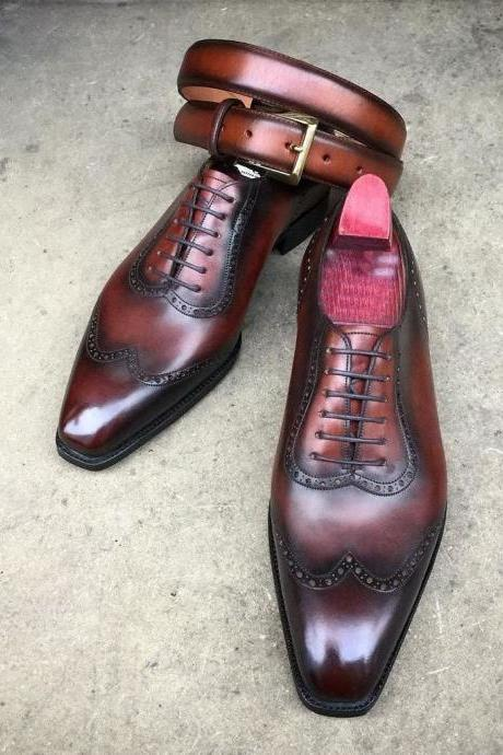 Handmade Brown Oxford Shoes, Wing Tip Formal Leather Dress Shoes, Men Shoes