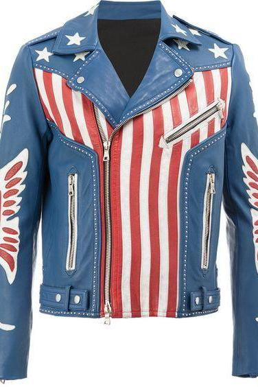 NEW HANDMADE MEN,S BALMAIN AMERICAN FLAG PRINT LEATHER JACKET