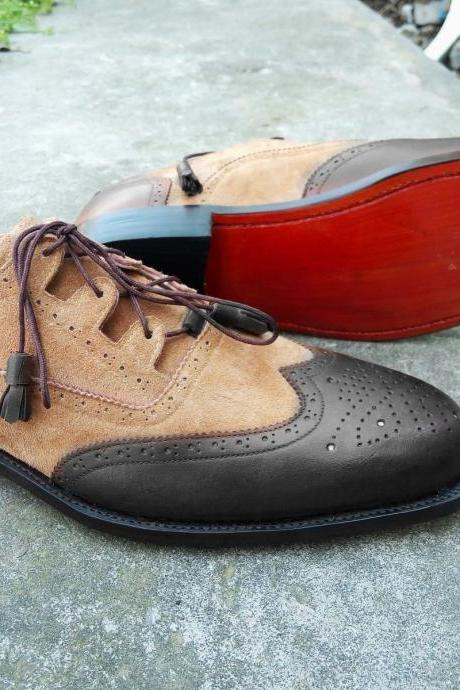 Handmade men two tone shoes, black leather and suede shoes, beige wingtip shoe