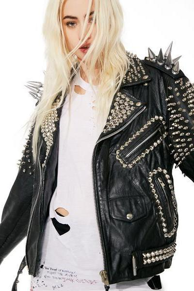 NEW WOMAN BLACK LONG SPIKED STUDDED PUNK COWHIDE LEATHER JACKET XS TO 6XL