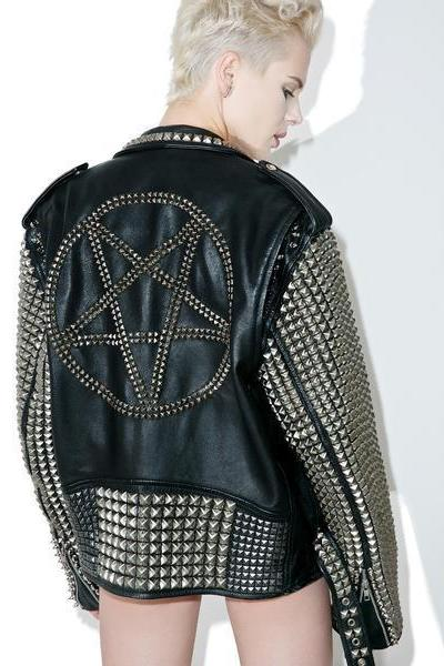 NEW WOMAN BLACK PUNK HALF STUDDED RIDING COWHIDE LEATHER JACKET ALL SIZES