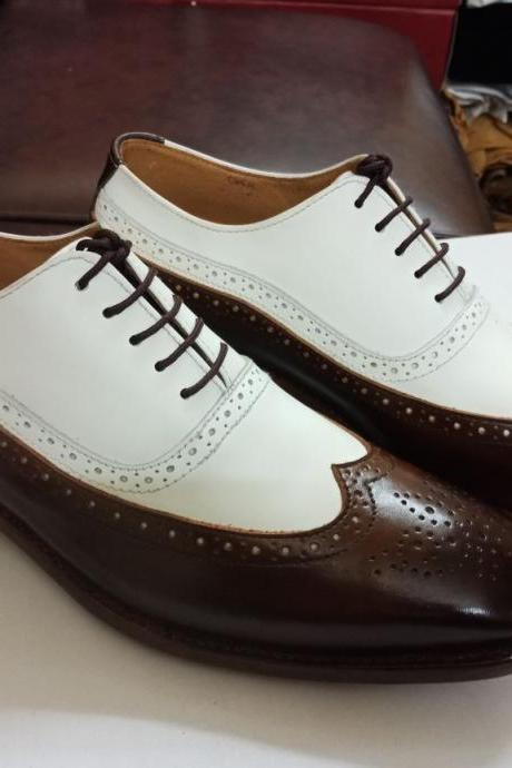 New Handmade men dress leather two tone shoes,Men brown and white wingtip shoes