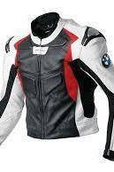 HANDMADE MOTORBIKE MOTORCYCLE LEATHER RACING JACKET SAFETY PADS FOR BMW