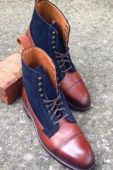 New Handmade Ankle High Leather Suede Boots, Blue Brown Leather Formal Boots