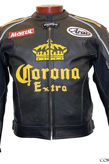 Corona Black Motorcycle Sports Vintage Genuine Leather Jacket With Front Zipper