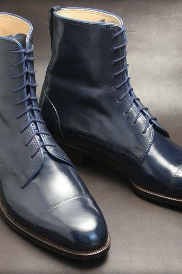 New Handmade Men,s Ankle High Blue Leather Lace Up Combat Boots