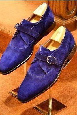 Handmade Men Royal blue Color Shoes, Men monk suede shoes, Men party dress shoes