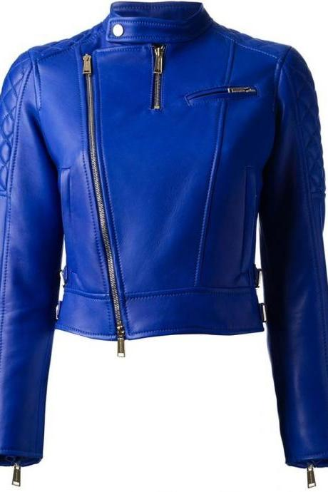 NEW CUSTOMIZED HAND MADE WOMAN,S BLUE LEATHER JACKET ALL SIZES