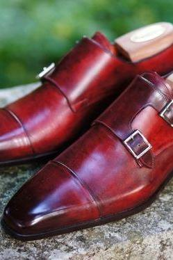 Handmade Red Monk Shoes, Men Red Double Monk Genuine Leather Shoes
