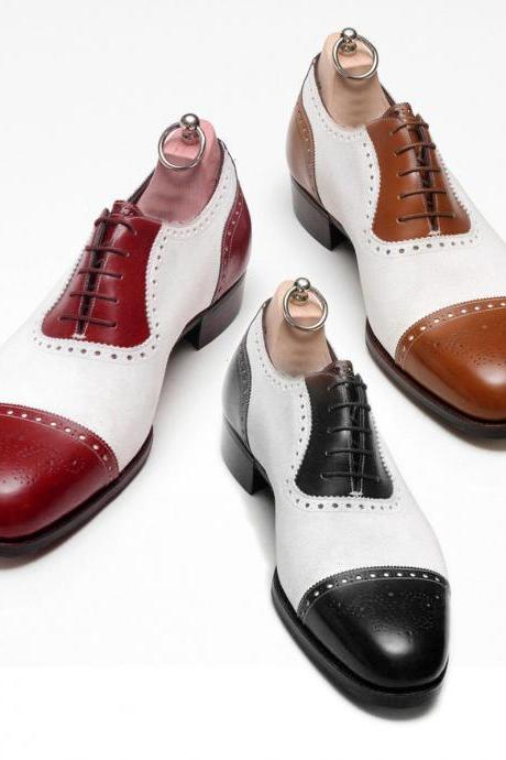 Handmade Men spectator shoes, Men two tone shoes, Men formal shoes, Mens shoes
