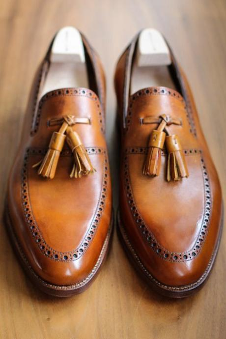 Mens Handmade Superb Leather Shoes with Brogues and Tassels, Men dress shoes