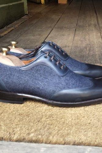 Men,s Handmade formal shoes Men Blue Leather and Jeans Cloth men shoes