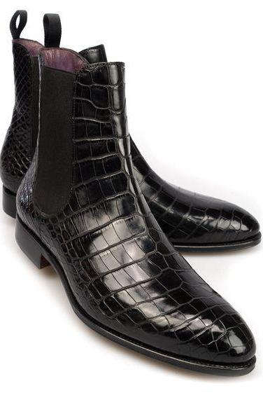 Handmade Chelsea Leather Boots, Formal Crocodile Texture Leather Men Black Boots