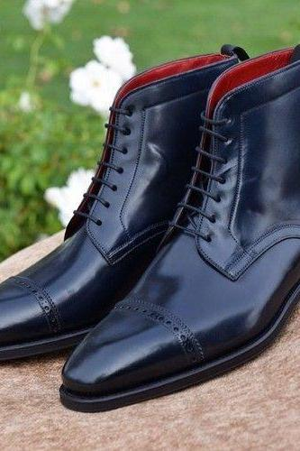 New Handmade Men,s Ankle High Black Leather Lace Up Brogue Boots