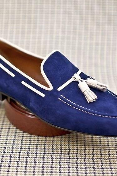 Handmade Blue Suede Moccasin Slipper Tussle Leather Dress Formal Office Shoes