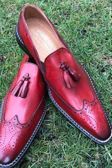 Handmade Red Moccasin Slipper Tussle Leather Dress Formal Office Shoes