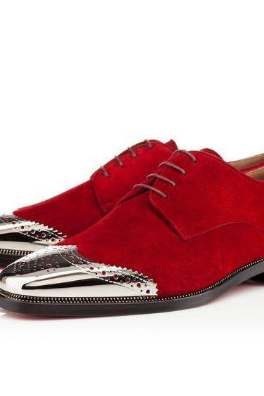 New Handmade Custom Men's Suede Red Brogue Shoes