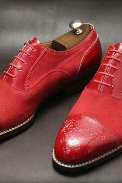 New Handmade Custom Men's Leather and Suede Red Brogue Shoes