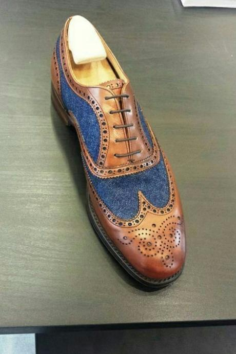 Handmade Men,s Oxford Two Tone shoes, Men Blue Brown Dress Office