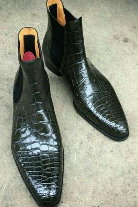 Custom Handmade Men,s Chelsea Black Leather Crocodile Texture Ankle Boots,