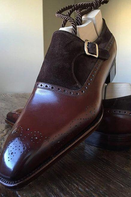 Men,s Handmade Brown formal monk Shoes, Men dress shoes, Men leather shoes