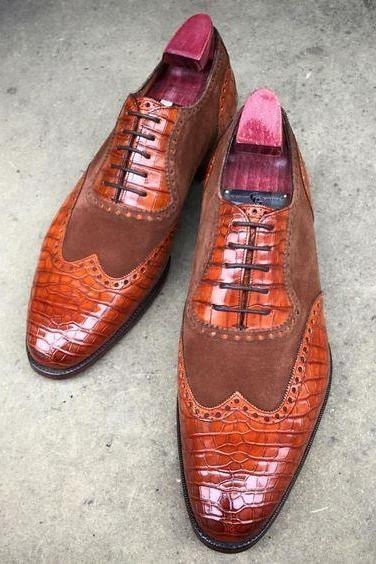Handmade Men's Brown Wing Tip Shoes, Suede Leather Crocodile Texture Shoes