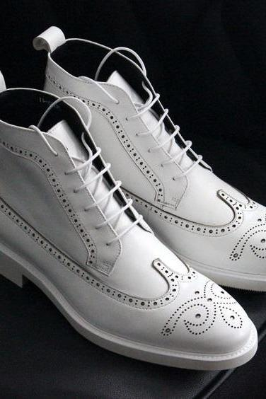 New Handmade Men,s Ankle High White Leather Lace Up Brogue Boots