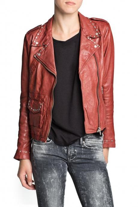 Women Red Genuine Real Leather Jacket Silver Studded Front Zipper Brando Style