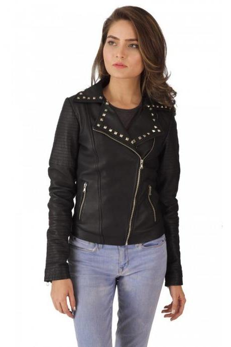 Women Black Genuine Real Leather Jacket Silver Studded Front Zipper Quilted Arms