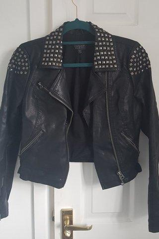 Black Color Women Genuine Leather Jacket Silver Studded Front Zipper Hand Made