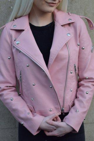 Pink Color Women Genuine Leather Jacket Silver Star Studs Front Zipper Hand Made