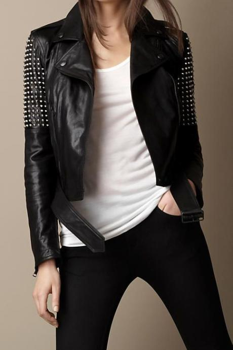 Short Body Women Black Genuine Leather Jacket Silver Studs On Arms Front Zipper