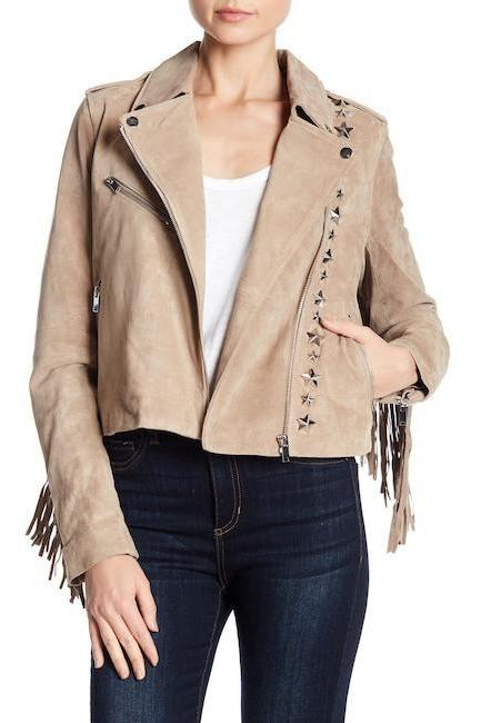 Skin Color Women Genuine Suede Leather Jacket Silver Star Studs & Fringes