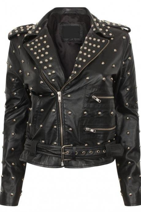 Handmade Black Leather Jacket With Full Golden Studs Brando Jacket For Women