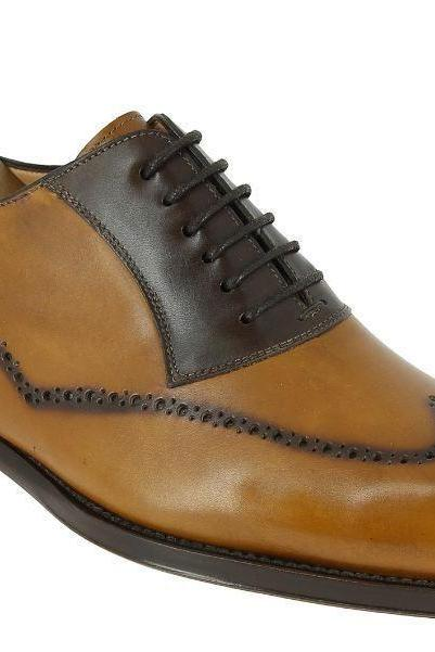 Handmade men brown leather shoes, men wingtip brogue shoe, men dress formal shoe