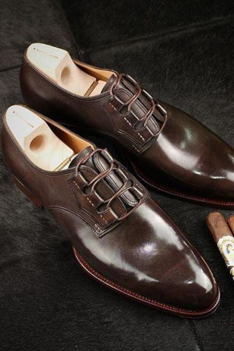 Handmade Men Brown Oxford formal shoes, Men brown dress shoes, Mens shoes